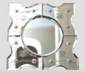 19th Century Venetian Etched Glass Floral Motif Mirror