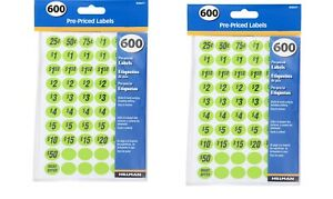 2 Pack Pre priced Home Garage Sale Yard Price Stickers Labels Assorted Colors