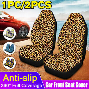 1 2pcs Leopard Print Front Car Seat Cover Protector Anti Slip Universal Washable
