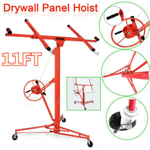 11ft Drywall Panel Lift Hoist Dry Wall Rolling Caster Lifter Construction 150 Lb