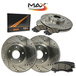 2007 2008 Mitsubishi Galant Ralliart Slotted Drilled Rotor W ceramic Pads F r