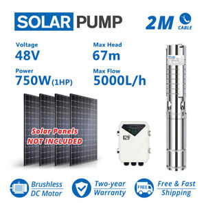 4 Dc Deep Well Solar Water Bore Pump 48v 750w Submersible Mppt Controller 1hp