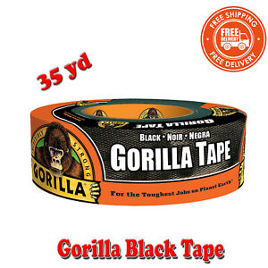 Gorilla Black Tape 35 Yd Roll Rugged Weather resistant Shell Withstands Moistur