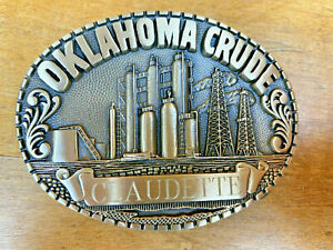 1970s Solid Brass Belt Buckle Oklahoma Crude Oil Field Rig claudette Engraved