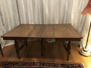 Antique Victorian Oak Dining Table W 3 Leaves