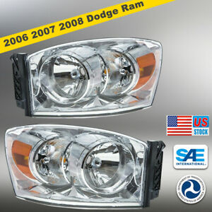 06 09 For Dodge Ram Headlights Aftermarket Replacement Assembly Headlamps clear