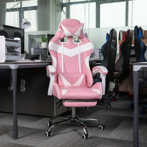 Executive Office Chair Ergonomic Gaming Chair Swivel Computer Seat Recliner Pink