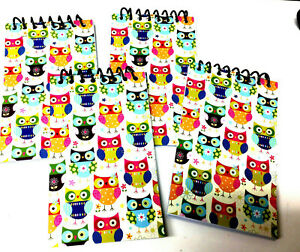 Set Of 4 Small Notebooks All Have Colorful Owl Pictures On Them Spiral At Top