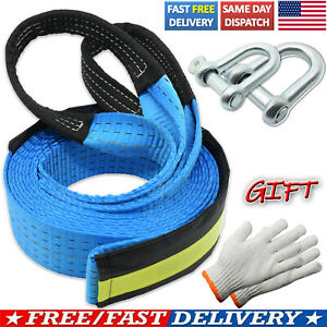 Heavy Duty Tow Towing Rope 16 8t Winch Pull Strap Emergency Recovery 2 Hooks