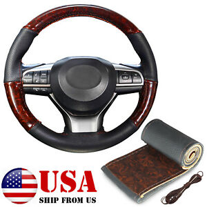 14 15 Wood Grain Steering Wheel Cover Leather Non Slip Diy Car Interior For Bmw