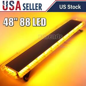 48 88 Led Emergency Strobe Light Bar Amber Warning Tow Truck Snow Plow Lamp
