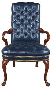 Mahogany Leather Queen Anne Tufted Nailhead Executive Office Desk Arm Chair