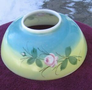 Antique Pretty Pink Rose On Blue Yellow Background Parlor Light Shade Stock Ee