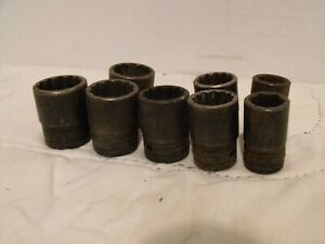 Vintage Snap on 1 2 Drive Impact Sockets 8 Piece Lot 12 6 point Usa