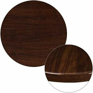 Flash Furniture 30 Round High gloss Walnut Resin Table Top With 2 Thick D