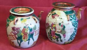 2 Antique Old Asian Chinese Wine Pot Art Pottery Jug Pitcher Famille Rose Verde