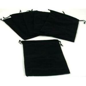 6 Jewelry Travel Gift Bags Pouches Black Velvet Drawstring 5