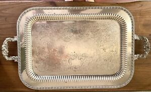 Vintage Serving Tray With Handles Silver Over Copper 21 X15 Keystone
