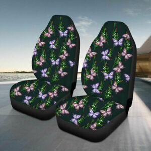 Polyester 2x Car Front Seat Covers Universal Protector Cushion Butterfly Printed