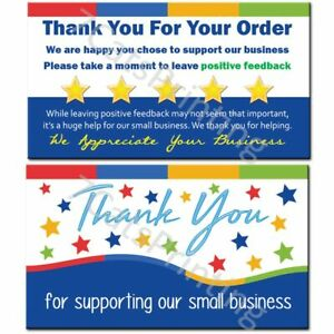 100 Ebay Thank You Cards For Supporting Our Small Business Sellers new Wording
