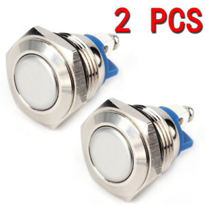 2x 12v Silver Car Waterproof Momentary On Off Metal Push Button Switch Tool 16mm