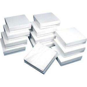Cotton Filled Jewelry Gift Boxes White 3 5 8 12pcs