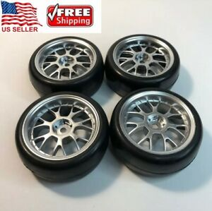 4pcs Soft Rubber Tires 1 10 On Road Rc Touring Car Wheels Rims 1 9in 12mm Hex