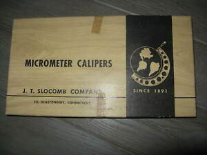 J t Slocomb Large Micrometer Calipers Original Box W wrench Papers