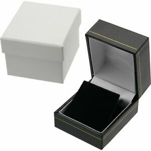 Earring Gift Box Black Faux Leather 1 3 4 Black white Interior only 1 Box