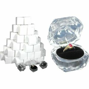 60 Ring Boxes Gift Display Crystal Box Case Findingking