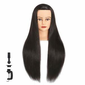 New Mannequin Head Human Hair 26 28 Synthetic Hairdresser Styling Training Doll