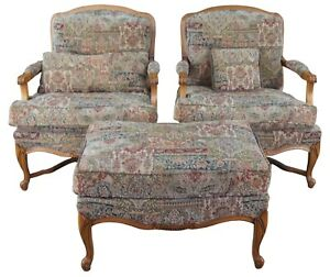 2 Vintage French Provincial Fauteuil Library Club Arm Accent Chairs Ottoman