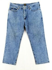 Lee 38x29 Relaxed Fit Blue Jeans Classic Denim Work Pants Casual Stone Wash $26.79