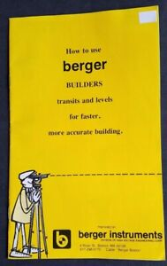 Berger Instruments How To Use Berger Builders Transits And Levels Manual