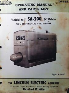 Lincoln Sa 200 Dc Welder Owner Parts Service Manual Pipeliner Gas Engine 1957
