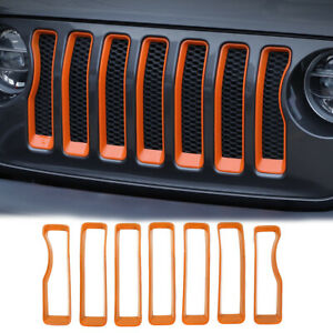 7pc Front Grille Grill Insert Cover Trim For Jeep Wrangler Jl Rubicon 18 Orange