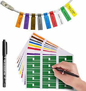 7 Colors 210 Pack Cable Labels Self adhesive Stickers Waterproof Wire Labels
