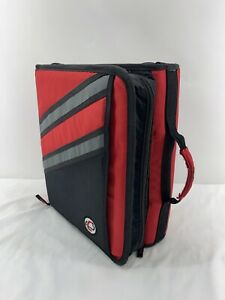 Case It Dual 2 Sided Ring Binder Red And Black Full Zip