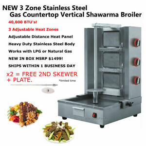 New Stainless Steel Gas Gyro Shawarma Machine Vertical Grill Broiler Al Pastor