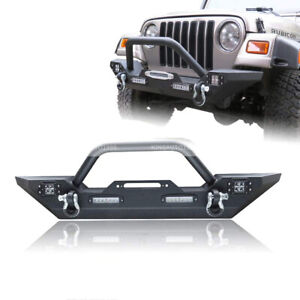 Textured Front Bumper W Winch Plate Led Lights For 87 06 Jeep Wrangler Tj Yj