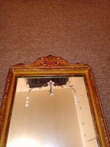 Antique Victorian Wall Mirror Beveled And Etched Glass 22 X 12