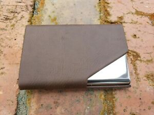 Brown Leatherette stainless Steel Card Holder Business Credit Card Holder Case