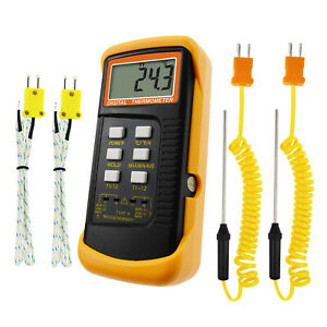 Thermocouple Temperature K Type Thermometer W 4 Probe wired Stainless Steel