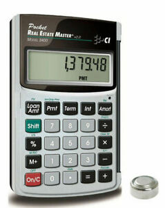 Calculated Ind Pocket Real Estate Master Calculator 3400 W spare Cr1620 Battery