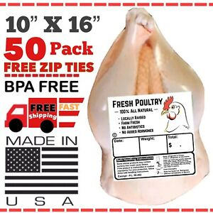 Poultry Shrink Bags 10 X 16 Free Zip Ties Freezer Safe Made In The Usa