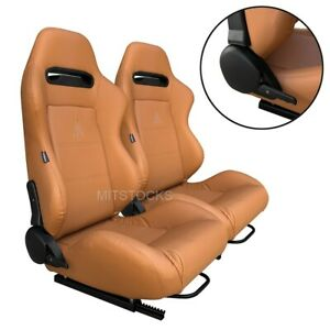 2 X Tanaka Tan Pvc Leather Racing Seats Reclinable Sliders For Chevy Fits Tahoe