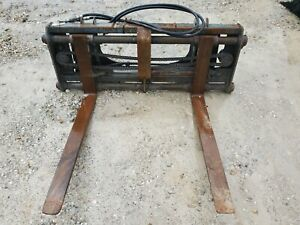 Used Hydraulic Pallet Fork Skid Steer Attachment
