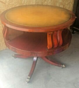 Vintage Mid Century Weiman Heirloom Leather Top Drum Table W Gold Flake Edge