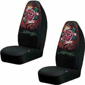Ed Hardy Dedicated To The One I Love Bucket Seat Covers Pair Brand New