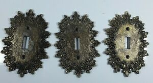 3 Ornate Metal Vintage Single Light Switch Cover Plate